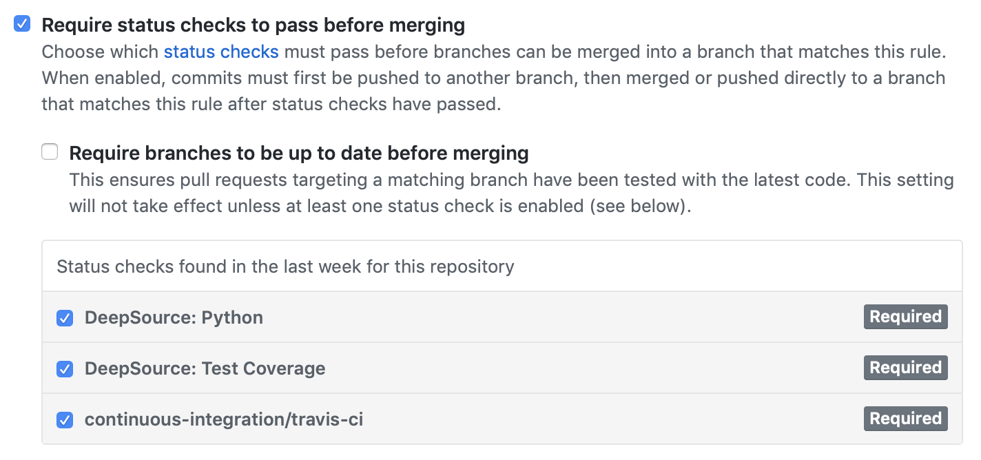 Branch protection section of repository settings page of GitHub